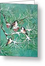 Three Little Chickadees In Pine Greeting Card