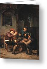 Three Peasants At An Inn Greeting Card