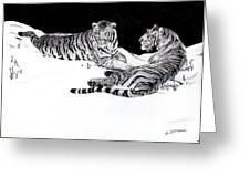 Tigers In The Snow Greeting Card