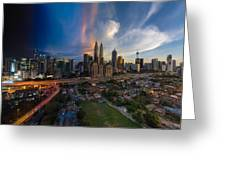 Timeslice Of Day To Night Of Kuala Lumpur City Greeting Card