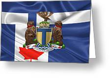 Toronto - Coat Of Arms Over City Of Toronto Flag  Greeting Card