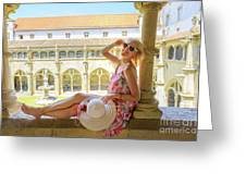 Tourist Woman In Coimbra Greeting Card