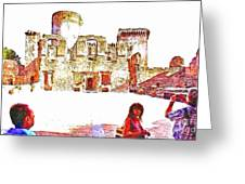 Tourists In The Castle Greeting Card
