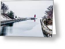 town of Charlevoix and South Pier Lighthouse on lake michigan Greeting Card