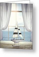 Toy Boat In Window Greeting Card