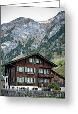 Traditional Swiss Alps Houses In Vals Village Alpine Switzerland Greeting Card