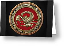 Treasure Trove - Sacred Golden Scorpion On Black Greeting Card