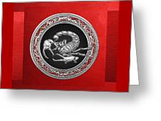 Treasure Trove - Sacred Silver Scorpion On Red Greeting Card
