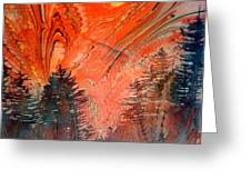 Trees On Red Marbled Paper Greeting Card