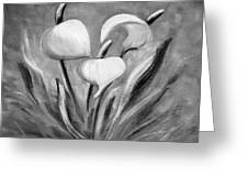 Tropical Flowers In Black And White Greeting Card
