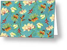 Tropical Island Floral Half Drop Pattern Greeting Card