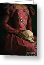 Tudor Woman Holding A Human Skull Greeting Card