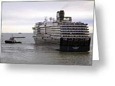 Tugboat Assisting Big Cruise Liner In Venice Italy Greeting Card