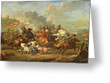 Two Battle Scenes Between Christians And Saracens Greeting Card