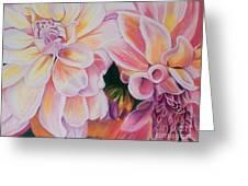 Two Dahlias Greeting Card by Lucinda  Hansen