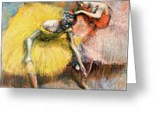 Two Dancers In Yellow And Pink Greeting Card