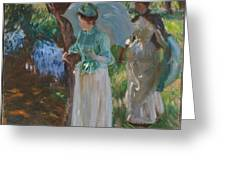Two Girls With Parasols Greeting Card