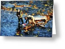 Two Men Fishing Greeting Card