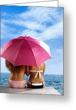 Two Women Relaxing On A Shore Greeting Card