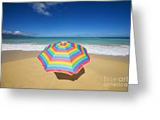 Umbrella On Beach Greeting Card