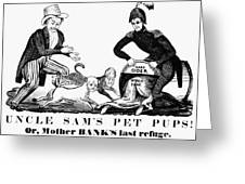 Uncle Sam Cartoon, 1840 Greeting Card