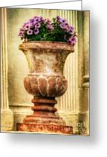 Urn With Purple Flowers Greeting Card