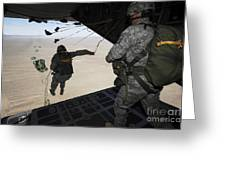 U.s. Airmen Jump From A C-130 Hercules Greeting Card