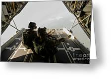 U.s. Army Green Berets Wait To Jump Greeting Card