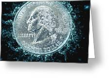 Us One Quarter Dollar Coin 25 Cents Greeting Card