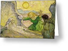 Van Gogh Raising Of Lazarus After Rembrandt Greeting Card