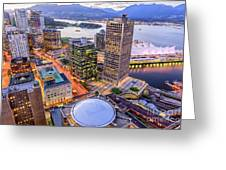 View Of Vancouver At Dusk. Greeting Card