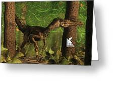 Velociraptor Dinosaur In The Forest - 3d Render Greeting Card