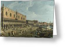 Venice   The Doges Palace And The Riva Degli Schiavoni Greeting Card