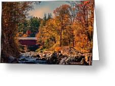 Vermont Covered Bridge Over The Dog River Greeting Card