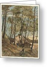 View From A Hill On A House On The Gulf Of Arcachon, August Allebe 1876 Greeting Card