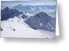 View From Summit Of Valluga, St Saint Anton Am Arlberg Austria Greeting Card