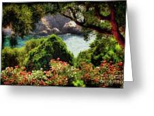 View From The Terrace - Paleokastritsa Greeting Card by Lois Bryan