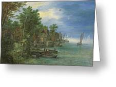 View Of A Village Along A River Greeting Card
