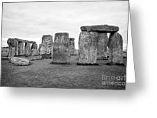 View Of Circle Of Sarsen Trilithon Stones At Side Opposite The Avenue Stonehenge Wiltshire England U Greeting Card