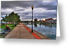 View Of Delaware Bridge At Erie Canal Harbor Greeting Card