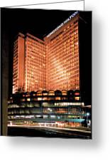 View Of Hong Kong Hilton At Night Greeting Card