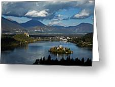 View Of Lake Bled From Ojstrica Greeting Card