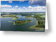 View Of Small Islands On The Lake In Masuria And Podlasie  Greeting Card