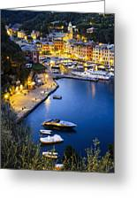 View Of The Harbour At Dusk  Portofino Greeting Card