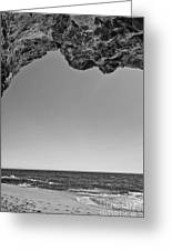 View Of The Natural Tunnel Of Hole In The Wall Beach Greeting Card