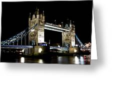 View Of The River Thames And Tower Bridge At Night Greeting Card