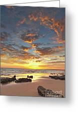 Gale Beach At Sunset. In Algarve Greeting Card