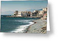 Village And Shingle Beach Of Erbalunga In Corsica Greeting Card