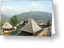 Village On Mountain Rural Landscape Greeting Card