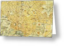 Vintage Map Of Athens Greece - 1894 Greeting Card